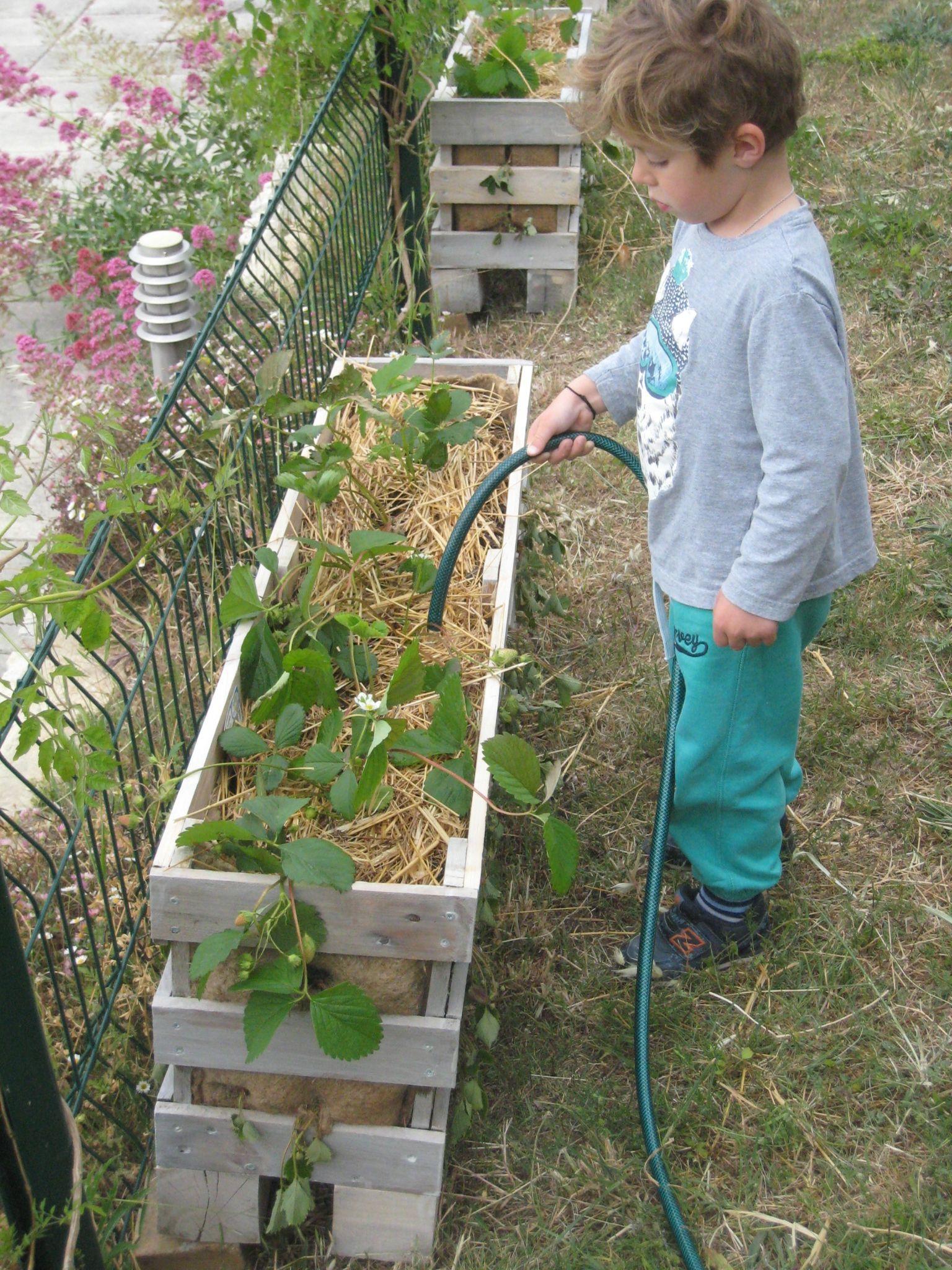 Des jardini res pour les fraises en r cup de palettes cr ations et bricolages d 39 oli for Creer son potager en carre