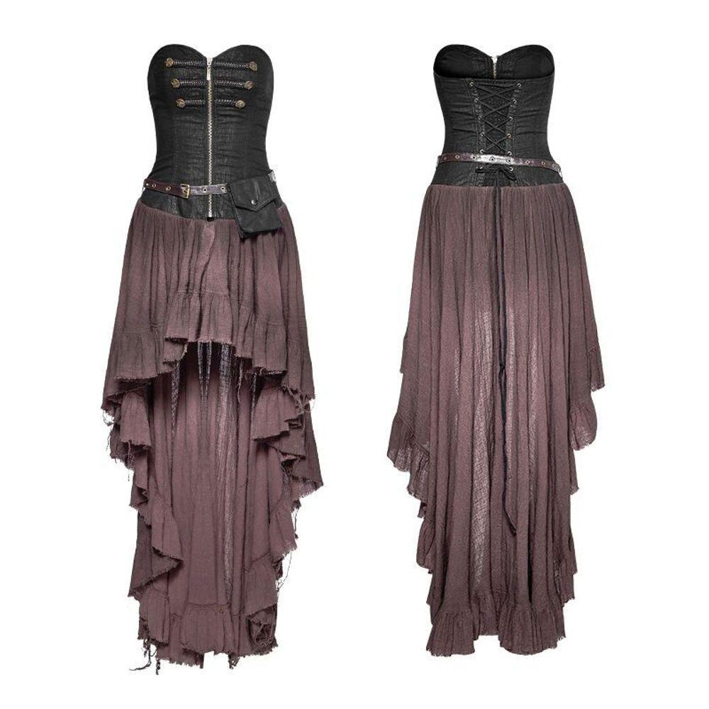 Punk Rave Dryad lange asymmetrische jurk met riem bruin - Steampunk, G