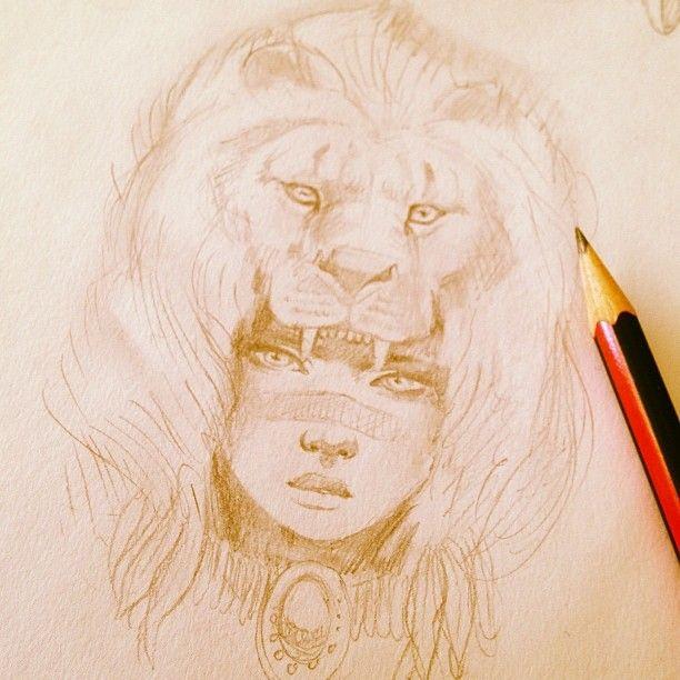 femme et tete de lion en coiffure crayon papier inspiration pour dessins dessins. Black Bedroom Furniture Sets. Home Design Ideas