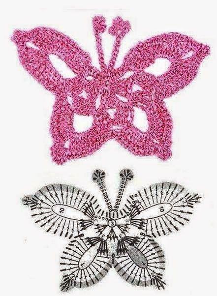 50 Mariposas, muchos patrones.   Crochet desde El Tabo.   Patrones ...