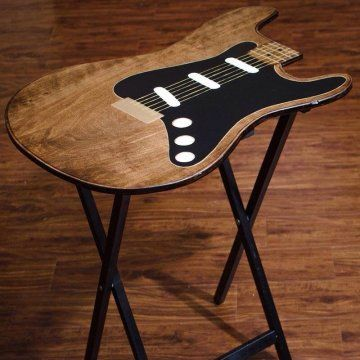 Guitar Shaped Chair Papasan Measurements Tv Fold Up Tables Rock N Designs Painted Colored Wood Fine Art Craft