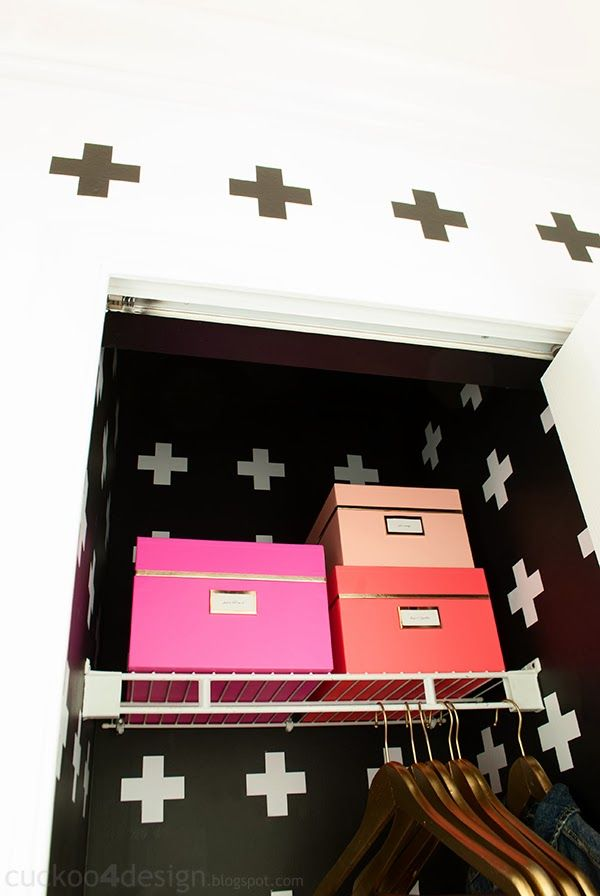Neon Kate Spade New York Nesting Boxes in our closet