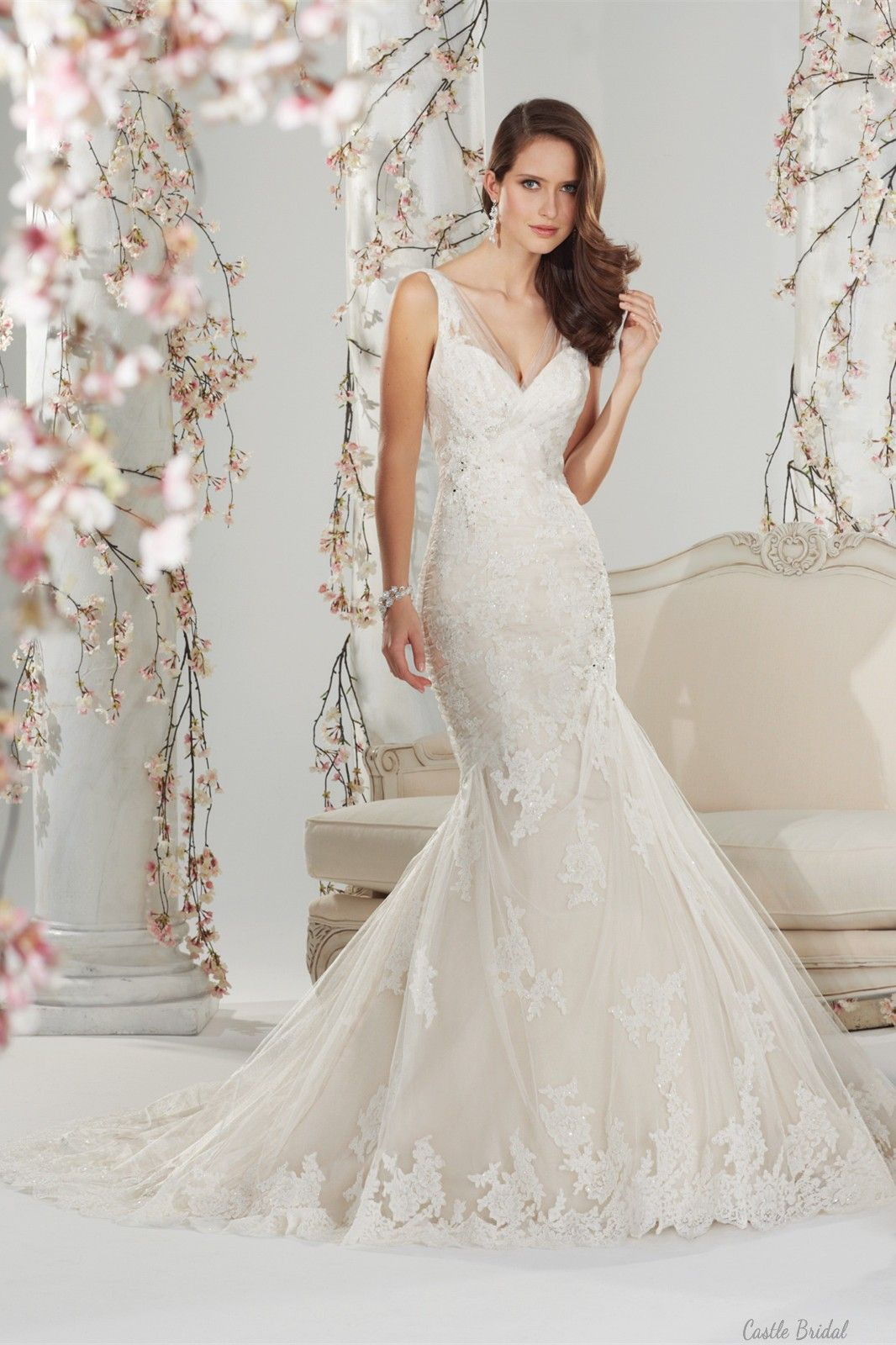 Mermaid vneck tulle and lace handbeaded wedding dress bridal gown