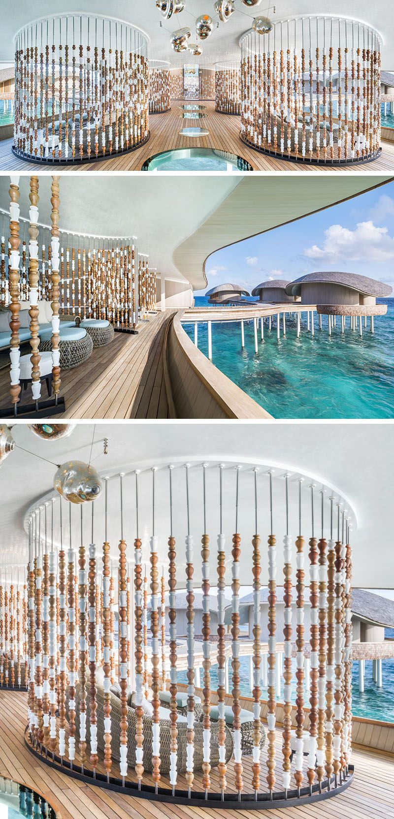 This spa uses abacuslike room dividers to create semiprivate
