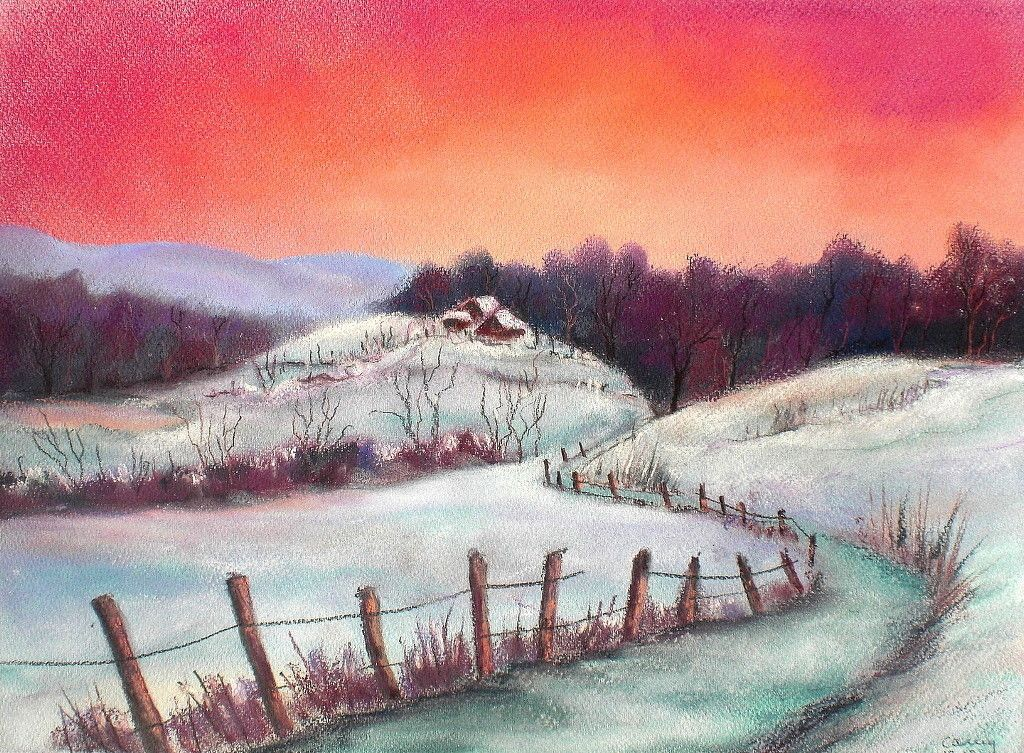 soft pastels winter schneelandschaft malen mit lkreide. Black Bedroom Furniture Sets. Home Design Ideas