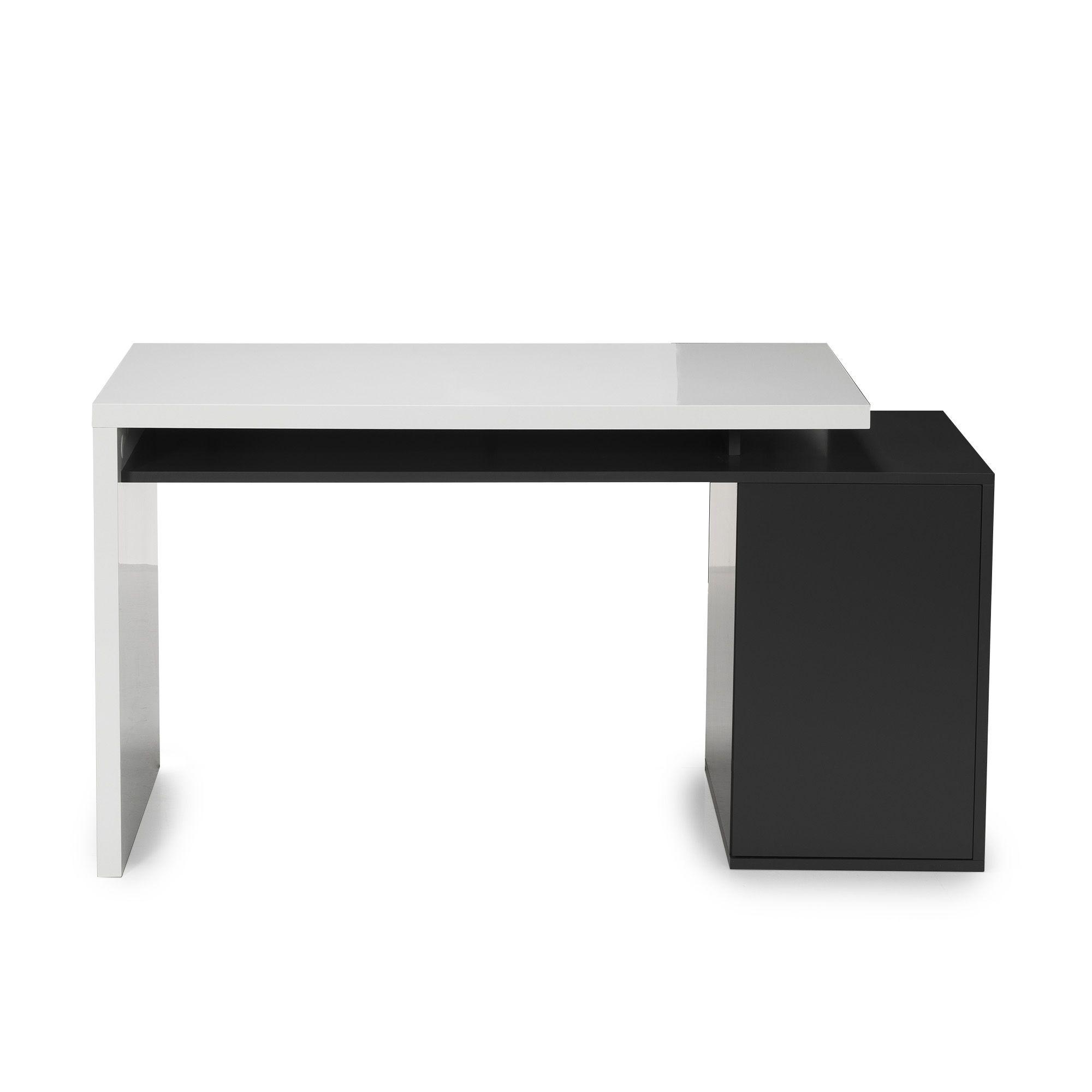 Bureau style moderne avec caisson int gr blanc gris for Bureau moderne blanc