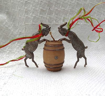 Antique Dresden 2 Goats Barrel Shape Candy Container Christmas Ornament  Sold Ebay $696.00