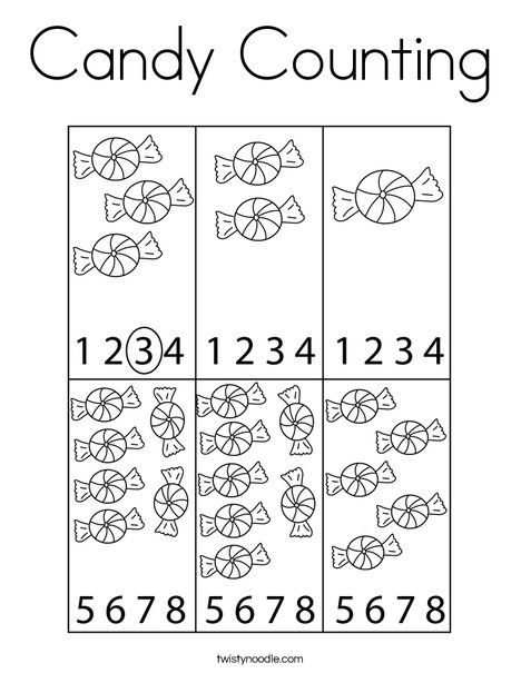 Candy Counting Coloring Page - Twisty Noodle | Kids math ...