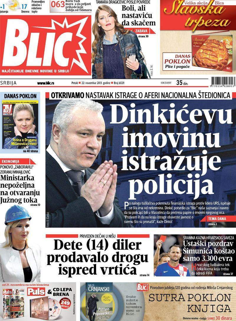 "Naslovna strana ""Blica"" za 22. novembar 2013. Baseball"