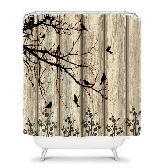 Shower Curtain Rustic Weathered Barn Wood Birds By FolkandFunky