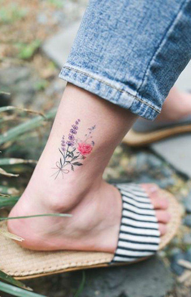 Cute Watercolor Pink Purple Wild Flower Ankle Tattoo Ideas For Women Ideas De Cute In 2020 Flower Tattoo On Ankle Flower Bouquet Tattoo Purple Flower Tattoos