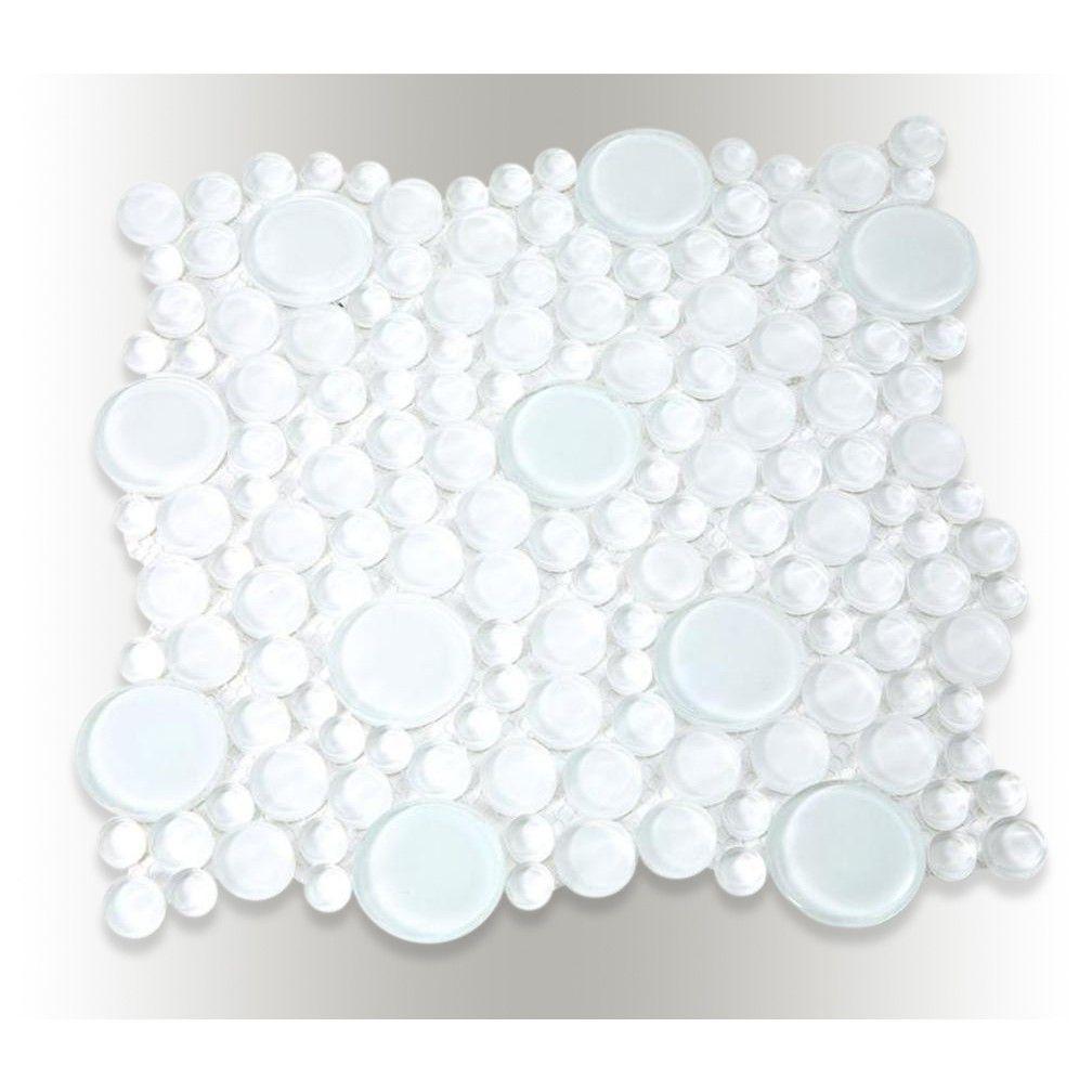 Shop 12x12 Loft Super White Random Circles In Polished Super White Glass Tiles At Tilebar Com Glass Tile White Glass Tile Penny Tile