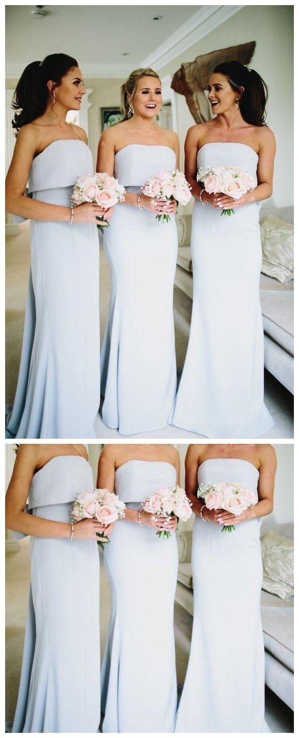 Simple strapless grey cheap long bridesmaid dresses online wg