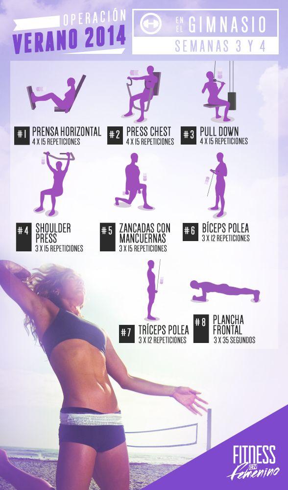 Tabla ejercicios mujer gimnasio