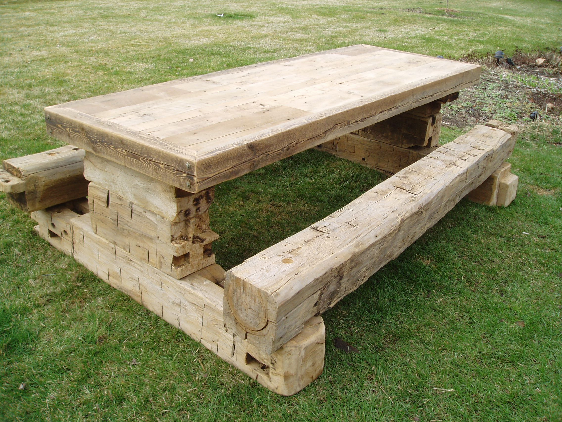 Reclaimed Hand Hewn Barn Beam Picnic Table By Sharper