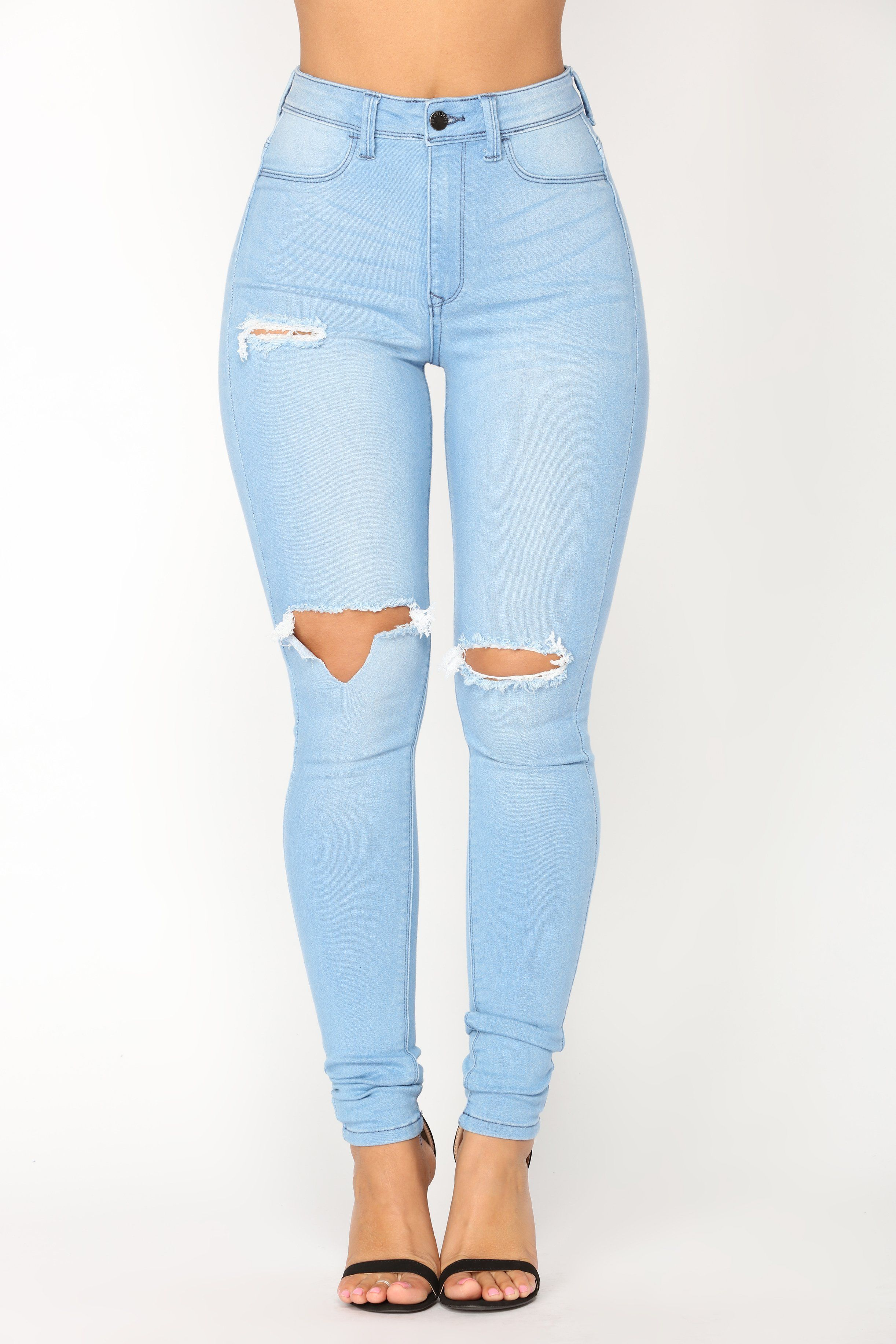 10a7c38593 Available In Light Blue Wash High Rise Stretch Denim Distressed 31