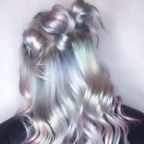 Grey hair Hair with hidden rain bow. Soft pastel oil slick hair color design ideas. Color - Iroiro 130 Silver Natural Vegan Cruelty-Free Semi-Permanent Hair Color #greyhair #grey #silverhair #vegan #veganbeauty