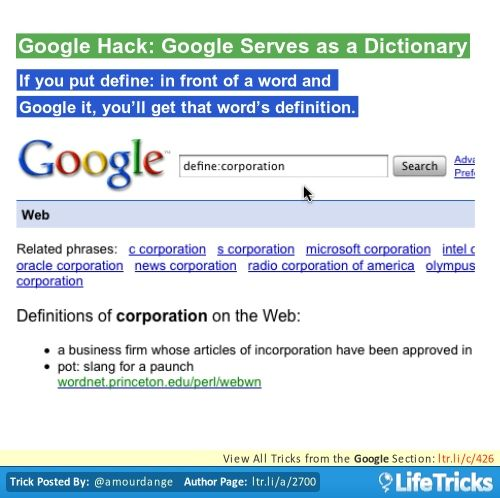 Google Hack Google Serves as a Dictionary Food Pinterest - microsoft articles of incorporation
