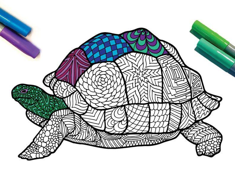 Giant Tortoise Endangered Animal PDF Zentangle Coloring