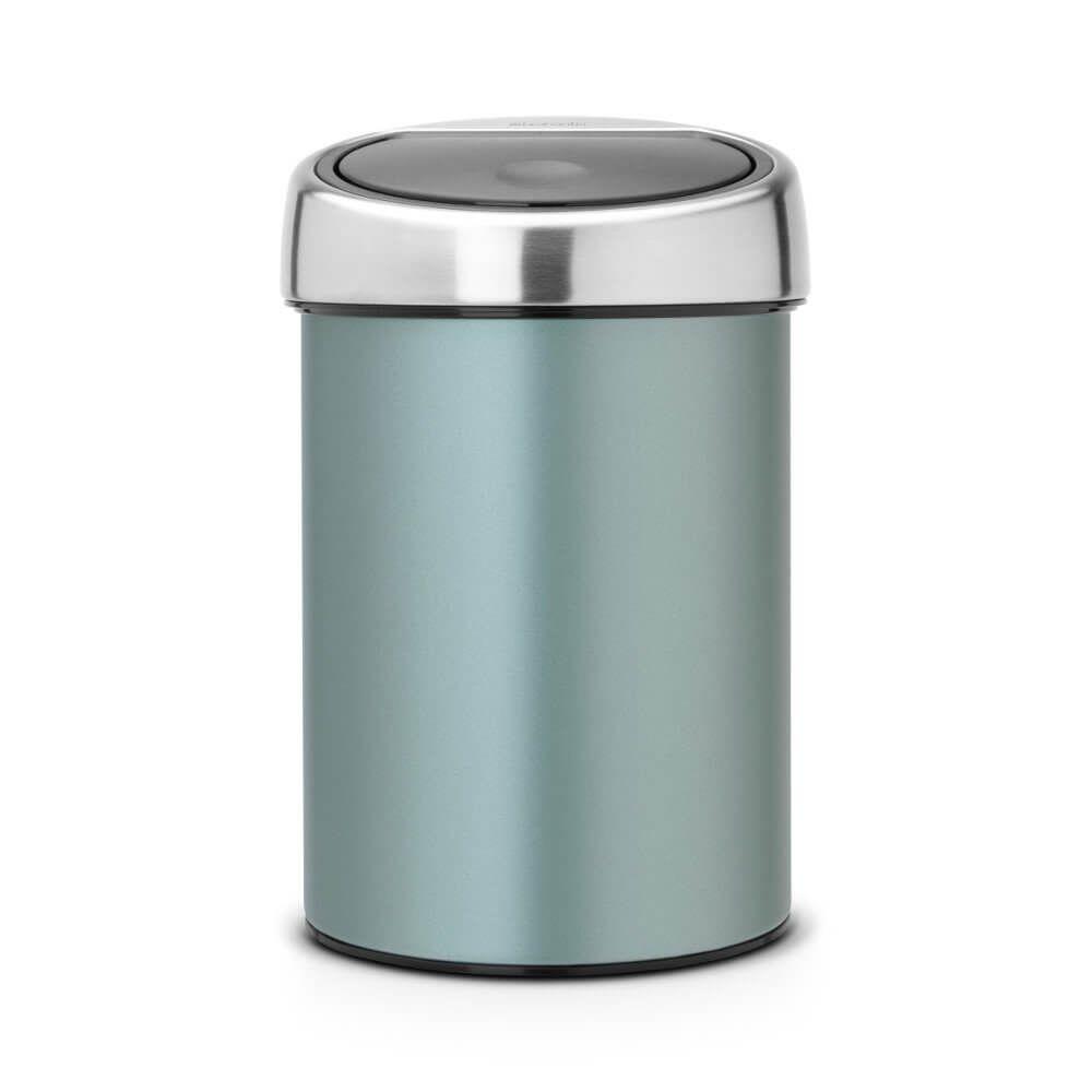 Touch Bin 3 Litres Metallic Mint Corbeille Papier Poubelle Et