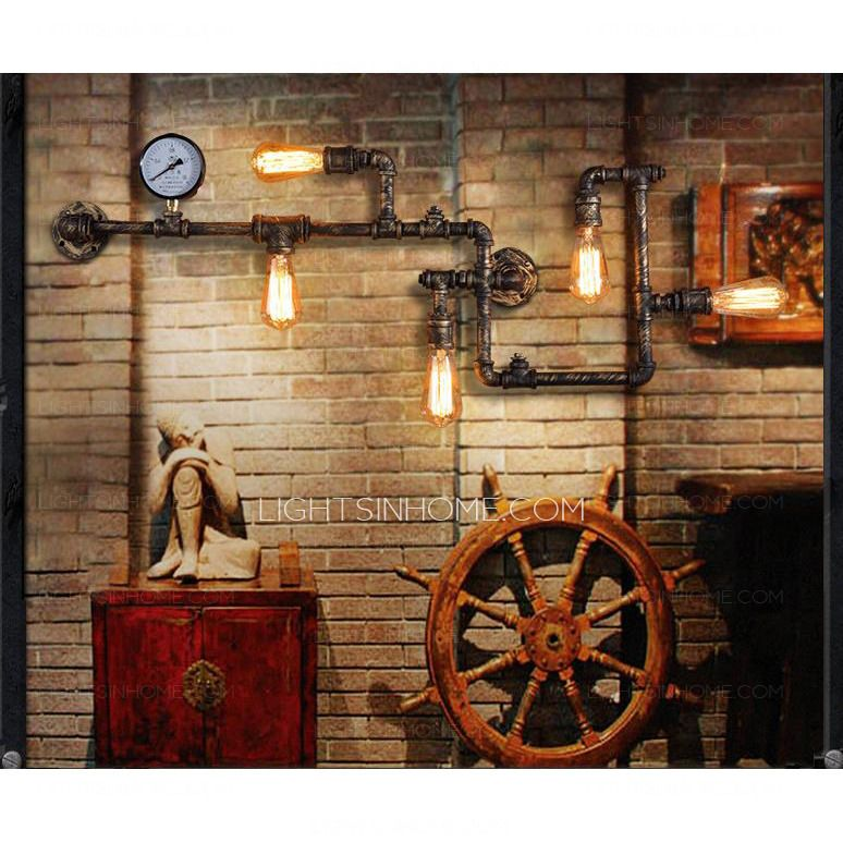 Vintage Wrought Iron 5-Light Water Pipe Shaped Industrial Wall Sconces