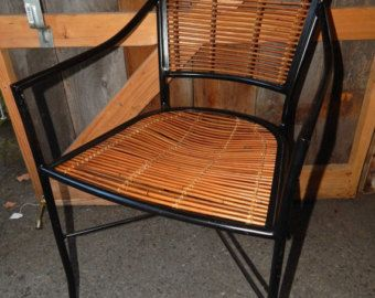 Sedie bambu ~ Crate and barrel black metal and bamboo chairs and barstools