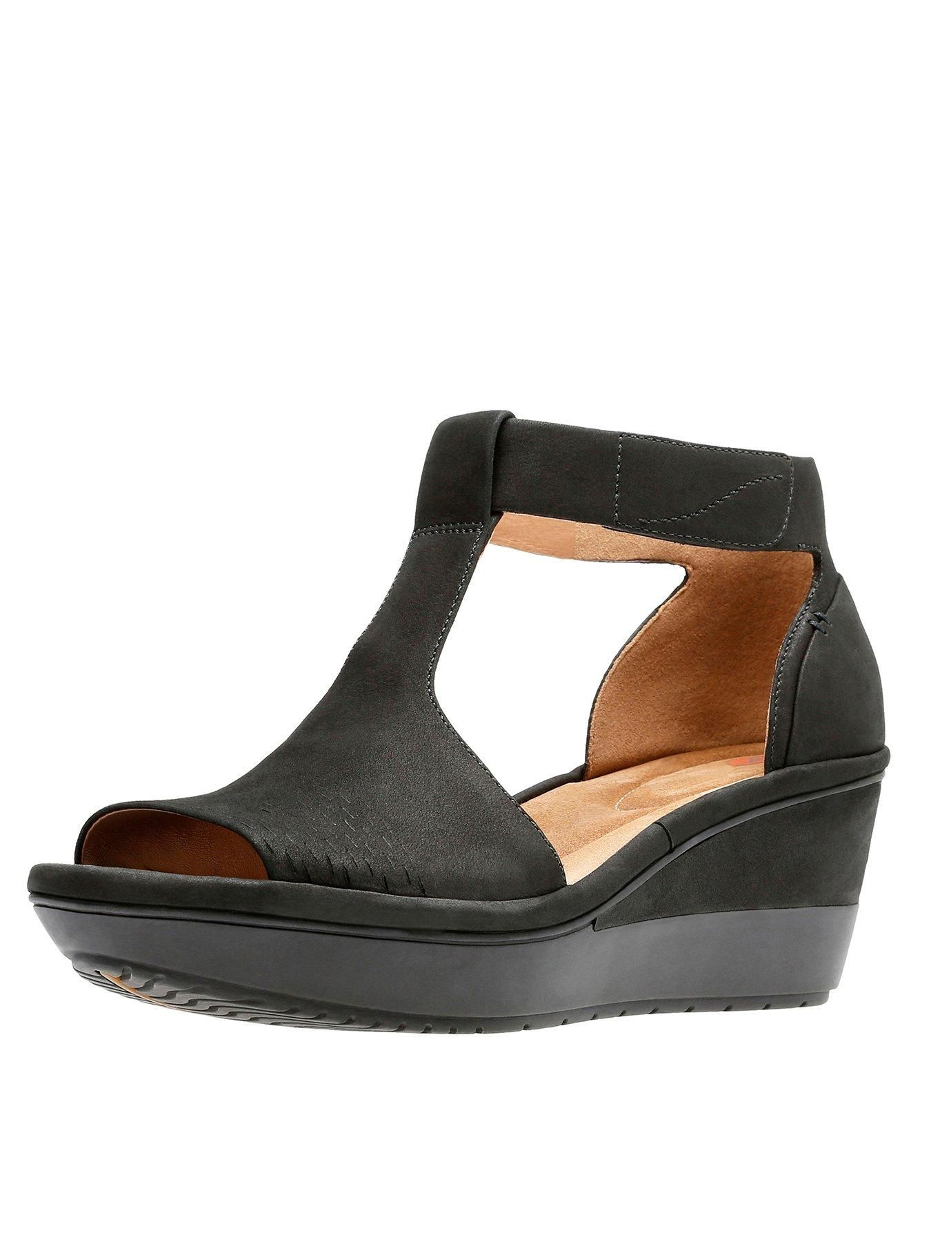 Clarks Wynnmere Avah T Bar Wedge Sandal Black Littlewoods With