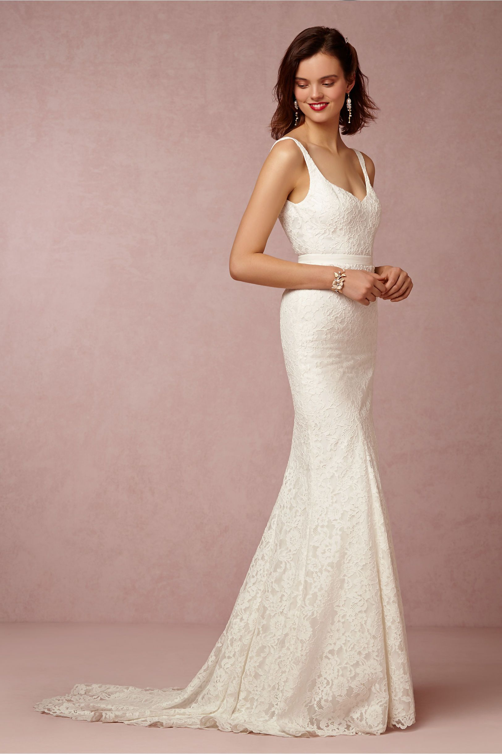 Sleek Classic Lace Wedding Dress by Nicole Miller for BHLDN   Be ...