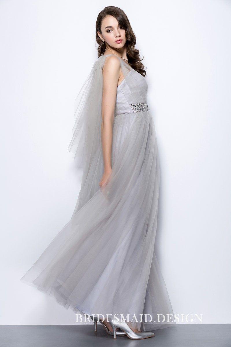 Grey tulle sweetheart sheer one shoulder aline long bridesmaid