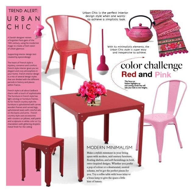 Color Challenge: Red and Pink II by cruzeirodotejo on Polyvore featuring interior, interiors, interior design, home, home decor, interior decorating, Tolix, Old Dutch, colorchallenge and redandpink