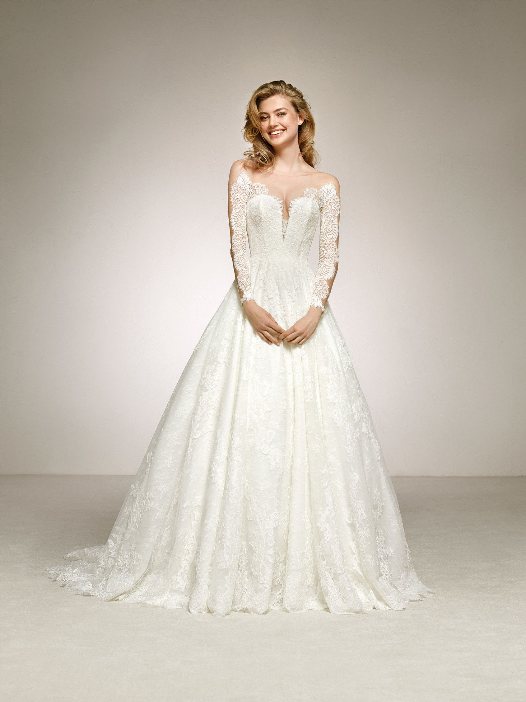 Pronovias Digna Long Sleeve Wedding Dress Lace Wedding Dress