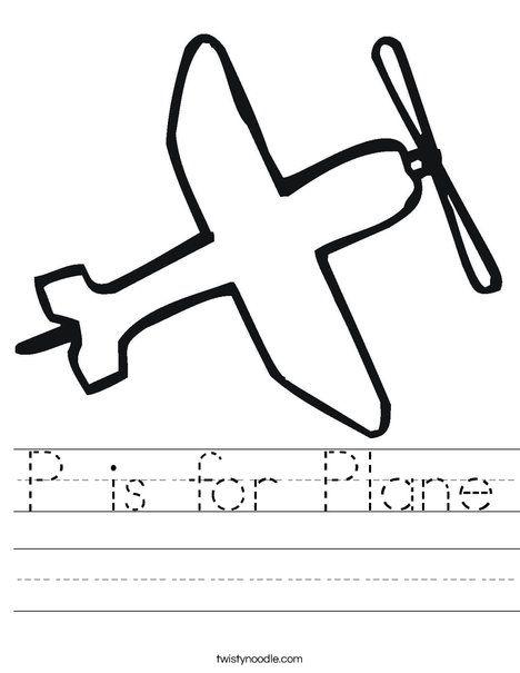 P Is For Plane Worksheet Transportation Preschool Worksheets Lesson Plans