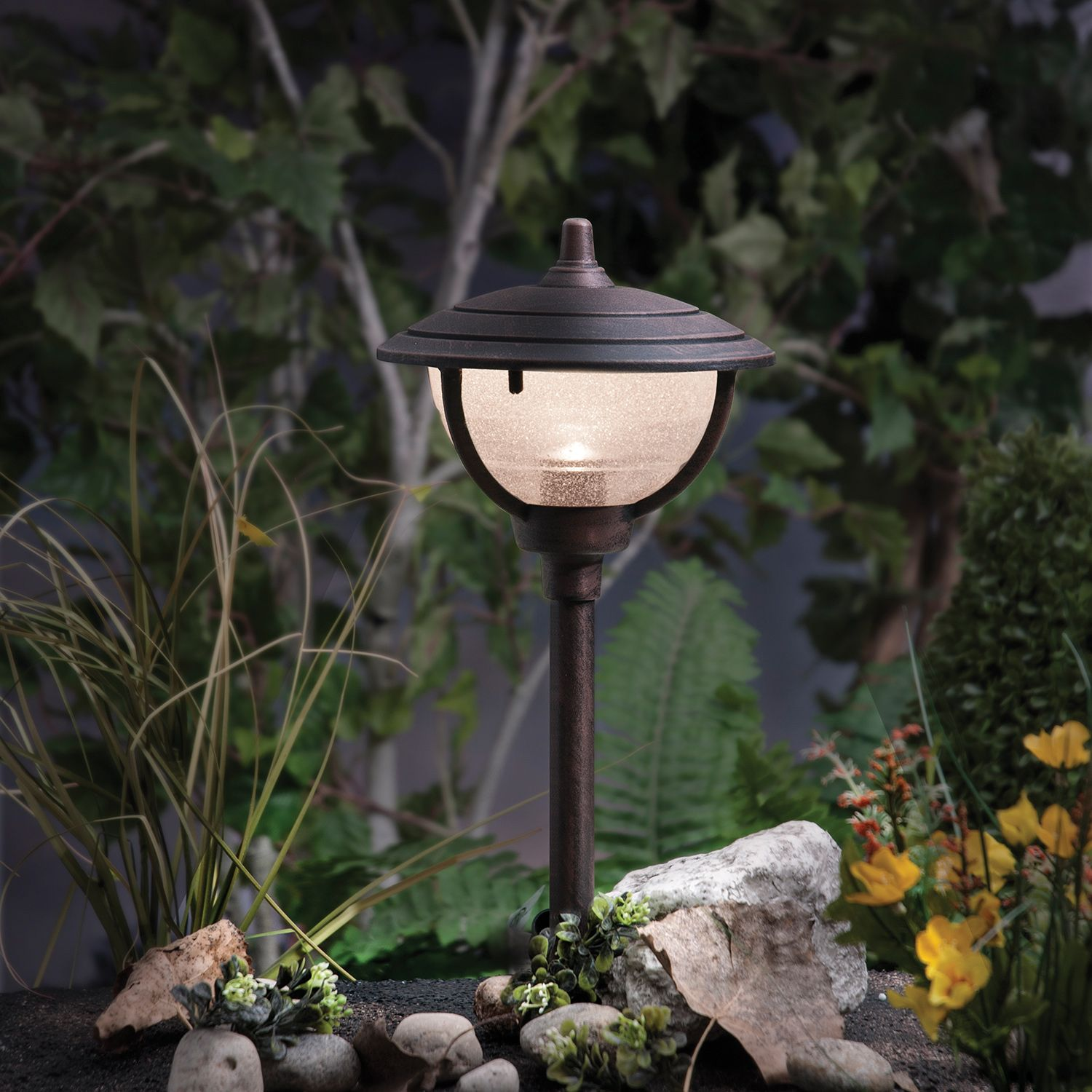Shed Some Light On Your Landscape With A Palm Island Low Voltage Path Light Complete With An Antique Copper Landscape Lighting Path Lights Landscape Materials