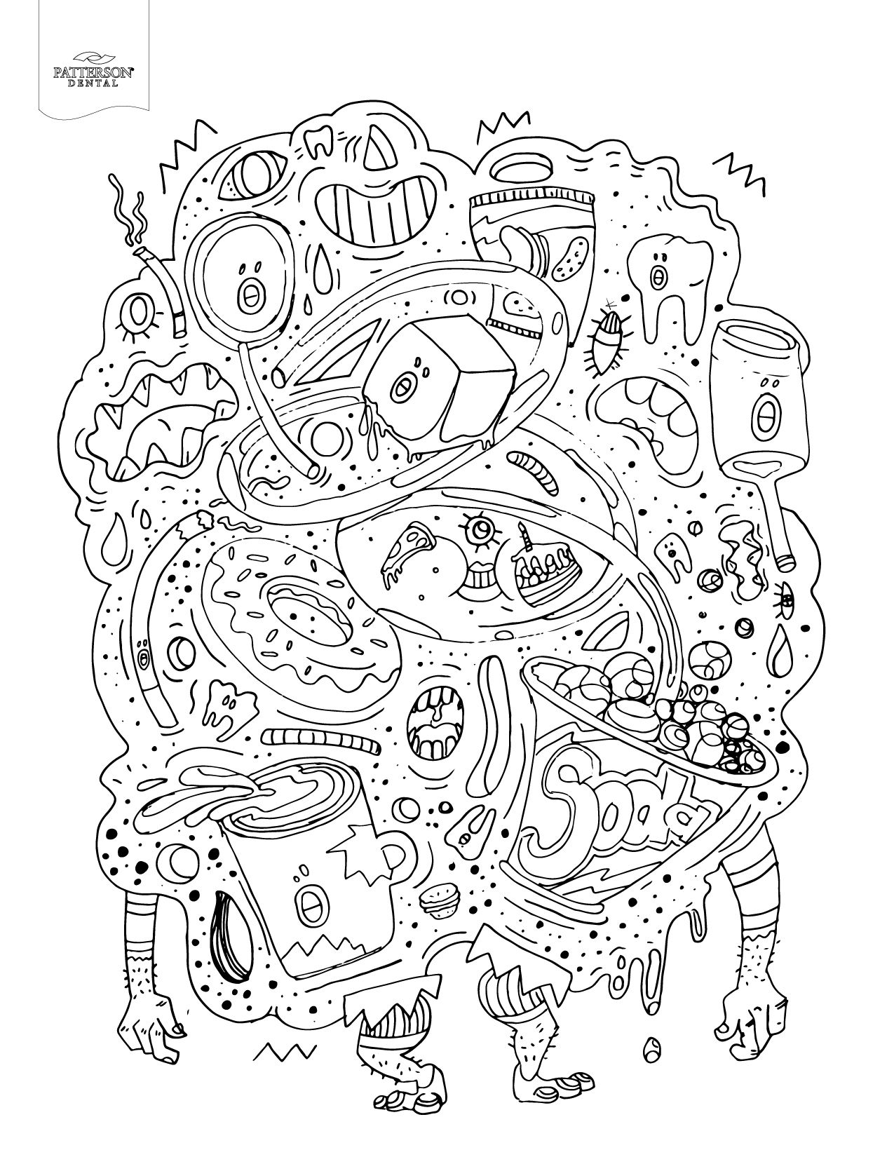 Junk Food Monster Adult Coloring Book Page