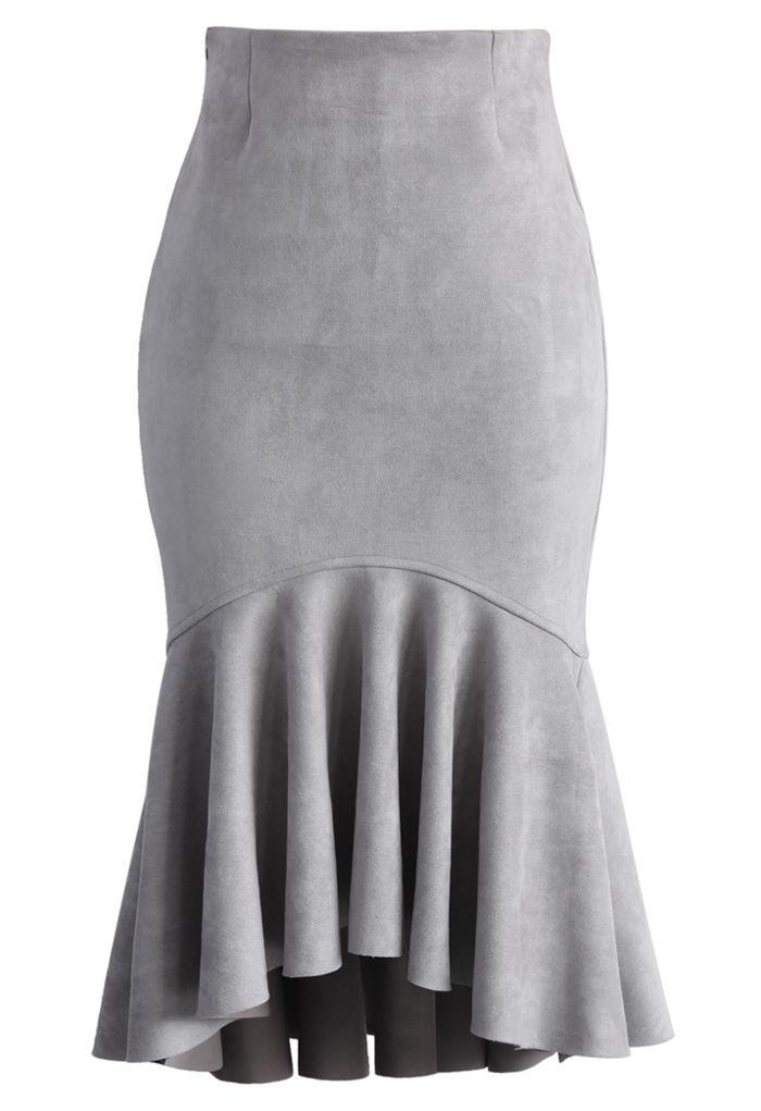 930cba89307 Sassy Suede Frill Hem Skirt in Grey - New Arrivals - Retro