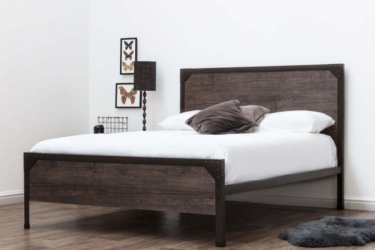 Marlow Rustic Metal Industrial Wood Panel Bed Frame Double King