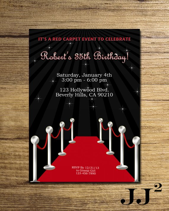 Red Carpet Birthday Party Invitation Glam Hollywood Event Invite Personalize