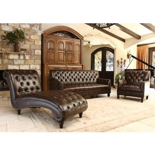Abbyson Alessio Brown Leather Living Room Sofa Set by Abbyson ...