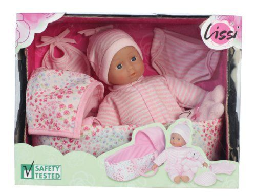 Lissi 10 Baby Doll With Carry Bed By Lissi Dolls 39 99 Soft 10 Baby Doll In A Floral Print Carry Bed With Accessories Baby Dolls Doll Accessories Playset