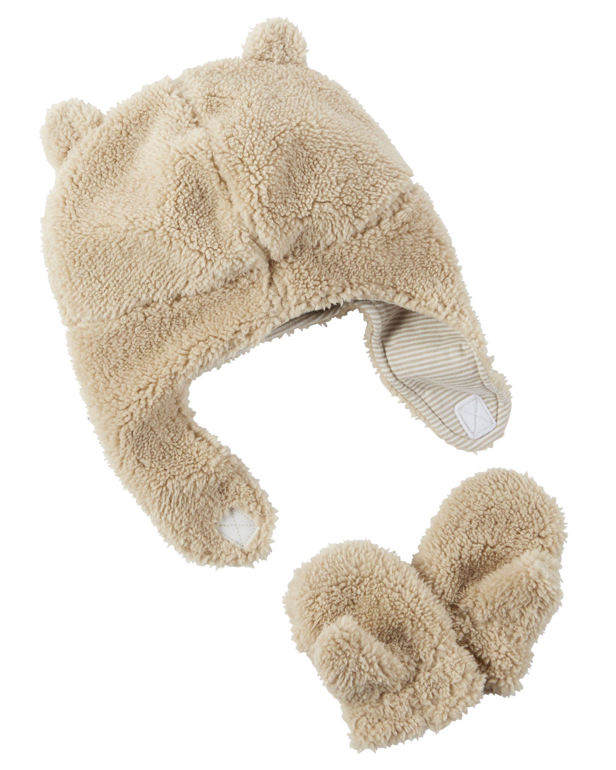 Baby Boy Sherpa Hat   Mitten Set  6c4f31e8b19