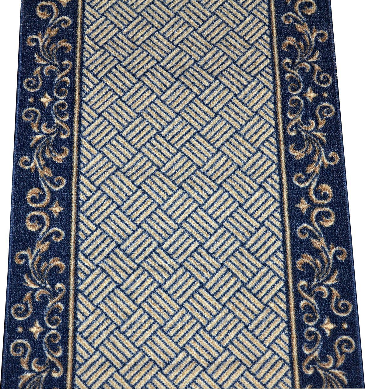 Best Navy Blue Scroll Border Washable Non Skid Carpet Rug 400 x 300