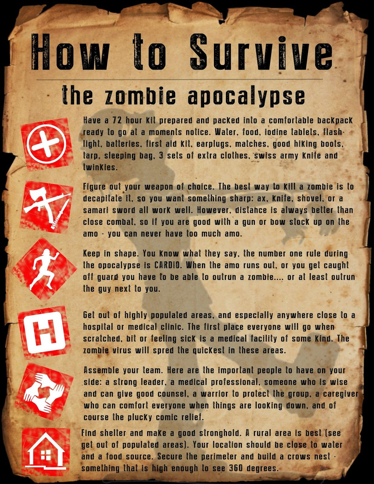 Zombie Apocalypse Survival Worksheet