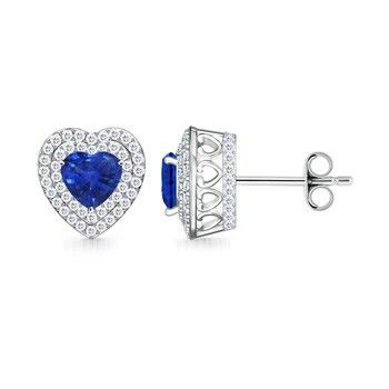 Angara V-Prong Square Sapphire and Diamond Stud Earrings in 14k Yellow Gold ARHOepi