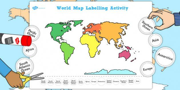 Continents and oceans geography ks1 2 world maps earth by map map gumiabroncs Image collections