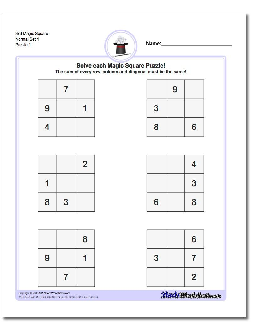 Worksheets Mathland Worksheets magic square puzzles this page has 3x3 4x4 and 5x5 worksheets that will get you ready for other challenges like the
