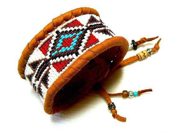 Native American Beaded Deerskin Cuff by TribalVibesLeather on Etsy, $68.50