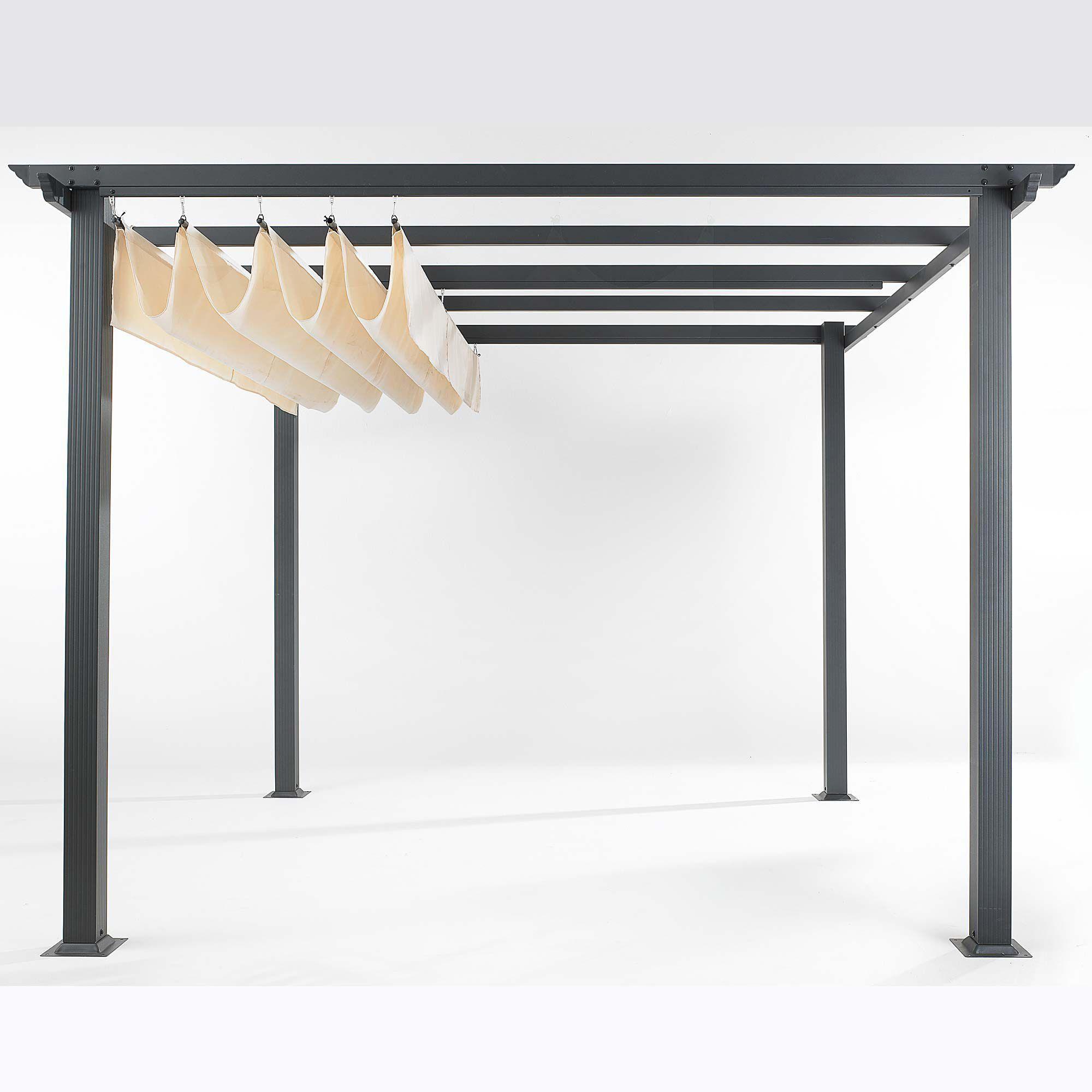 pergola aluminiumgestell und polyester dach sonnen und sichtschutz garten sichtschutz. Black Bedroom Furniture Sets. Home Design Ideas