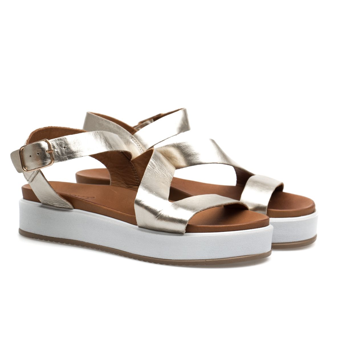 2acb9178cc4e ženske sandale ravne - inuovo-7320-gold
