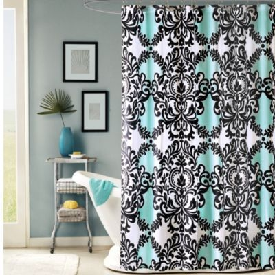 Boasting A Bold Modernized Classic Scroll Design This Fabric Shower Curtain Pops With Beautiful Palette Of Aqua Black And White