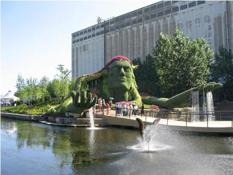 Le jardin du québec La légende de la terre-mère, Québec, Canada #artfloral #jardindemontreal 2003